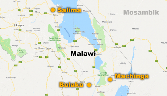 Evangelisation in drei Städten: Salima, Balaka, Machinga (Karte: google)