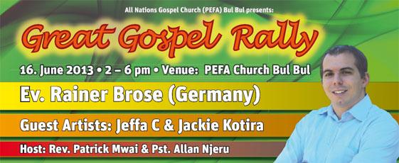 Banner für die Gospel Rally